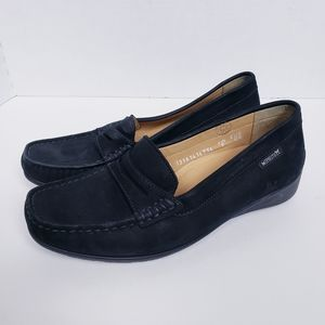 Mephisto Black Air Jet Wedge Penny Loafer Shoes 7
